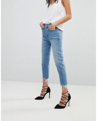 7 For All Mankind - Josefina High Waist Boyfriend Jeans With Distressed Waist And Hem - Lyst