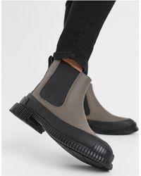 Camper Серые Кожаные Ботинки С Массивной Подошвой Pix-серый - Черный