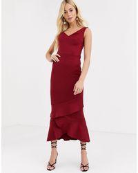 True Violet Платье Макси С Открытыми Плечами И Оборкой -красный