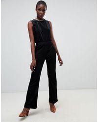 Pieces Velvet Ribbed Wide Leg Jumpsuit - Black