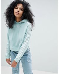 adidas Originals - Originals Adicolor Three Stripe Cropped Hoodie In Mint - Lyst