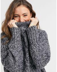 TOPSHOP – weißer Pullover mit Zopfmuster und Rundhalsausschnitt - Schwarz