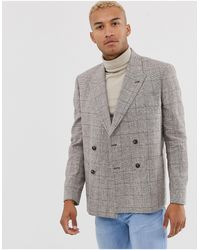 ASOS Boxy Oversized Double Breasted Linen Blazer With Check - Brown