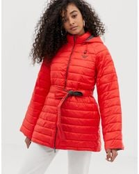 Emporio Armani Quilted Coat With Contrast Lining - Red