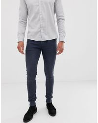 ASOS Super Skinny Jeans In Dark Smokey Blue