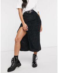 ASOS Fluffy Midaxi Skirt With Thigh Split Detail - Black
