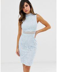 AX Paris Кружевное Облегающее Платье С Высоким Воротником -синий