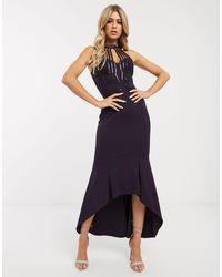 Lipsy Sequin Midi Dress - Purple