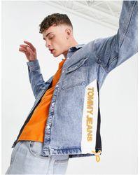 Tommy Hilfiger Голубая Джинсовая Куртка-рубашка В Рабочем Стиле С Контрастными Вставками И Логотипом Сбоку -голубой - Синий