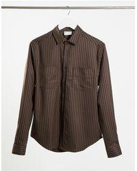 ASOS Smart Co-ord Pinstripe Overshirt - Brown