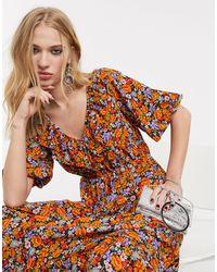 TOPSHOP Floral Frill Detail Midi Dress - Orange
