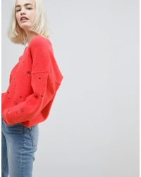 ASOS DESIGN - Asos Jumper With V-neck And Rolled Edges - Lyst
