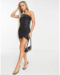 AX Paris One Shoulder Sequin Bodycon Dress - Black