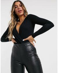 ASOS Deep Plunge Bodysuit - Black
