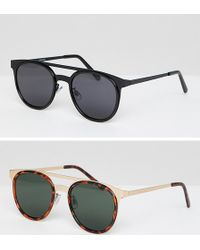 ASOS - 2 Pack Round Sunglasses With Brow Bar In Gold & Black - Lyst