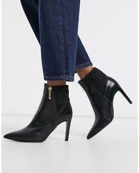 Karen Millen Ella Side Zip Leather Heeled Boots - Black