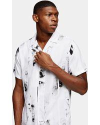 TOPMAN Stripe Floral Slim Shirt - Black
