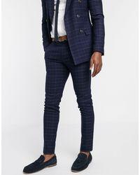 TOPMAN Suit Trousers - Blue