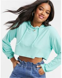 In The Style X Saffron Barker Ribbed Crop Hoodie - Green