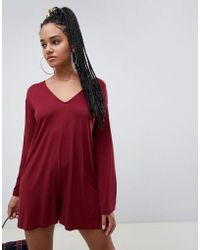 ASOS - Swing Romper With Fluted Sleeve - Lyst