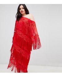 ASOS - Asos Edition Curve Embroidered One Shoulder Fringe Midi Dress - Lyst