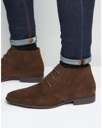 ASOS - Chukka Boots In Brown Faux Suede - Lyst