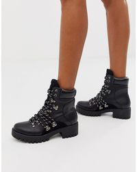 Missguided Chunky Hiking Ankle Boot With Contrast Laces - Black