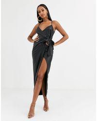 ASOS Vestido largo con diseño cruzado - Negro