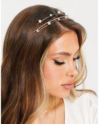 ASOS Metal Headband With Diamante And Pearl Detail - Metallic