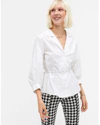 Monki Белая Блузка Из Органического Хлопка С Широкими Рукавами Pam-белый