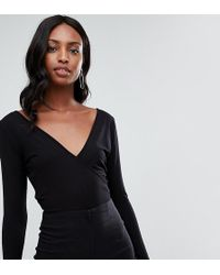 7ae79261510 ASOS - Asos Design Tall Body With Deep Wrap Front And Back In Black - Lyst