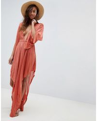 241301d11ea ASOS - Slinky Glam Long Sleeve Plunge Beach Dress - Lyst