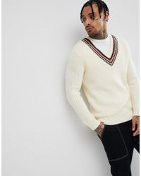 ASOS - Knitted V-neck Jumper With Stripes In Beige - Lyst