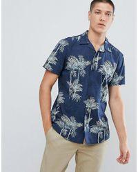 Jack & Jones - Originals Short Sleeve Shirt With Revere Collar And Print - Lyst