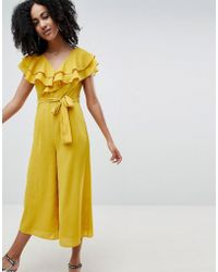 Lost Ink Frill Shoulder Wide Leg Jumpsuit - Yellow
