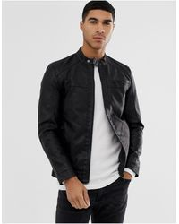Only & Sons Faux Leather Racer Jacket - Black