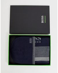 BOSS Ribbed Beanie & Scarf Gift Set - Blue