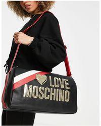 Love Moschino - Черная Дорожная Сумка-тоут С Большим Логотипом -черный Цвет - Lyst