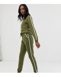 ASOS Trainingsanzug mit hübschem Sweatshirt und Basic-Jogginghose mit Bindeband und kontrastierender Einfassung - Grün