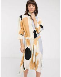 & Other Stories Oversized Spot Print Belted Shirt Dress - Natural