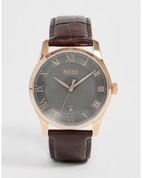 BOSS 1513740 Master - Leren Horloge - Bruin