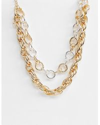 ASOS - Multirow Necklace With Mixed Open Link Chains In Gold - Lyst