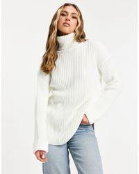 NA-KD Ribbed Knitted Roll Neck Jumper With Side Splits - White