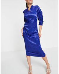 Closet Closet - Robe fourreau plissée aux manches - Bleu
