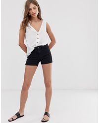 Vero Moda – e Jeansshorts mit Umschlag - Schwarz