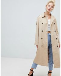 Fashion Union - Belted Trench Jacket With Storm Flaps And Contrast Lining - Lyst