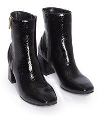 Miss Selfridge Heeled Boots With Zip Detail - Black