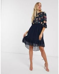 Frock and Frill Frock & Frill 3/4 Sleeve Embroidered Detail Midi Dress - Blue