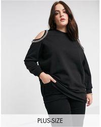 River Island Cold Shoulder Sweatshirt - Black