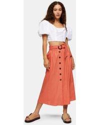 TOPSHOP Belted Midi Skirt - Orange